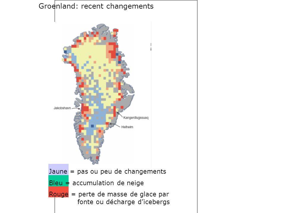 Groenland: recent changements Jaune = pas ou peu de changements Bleu = accumulation de neige Rouge = perte de masse de glace par fonte ou décharge dicebergs