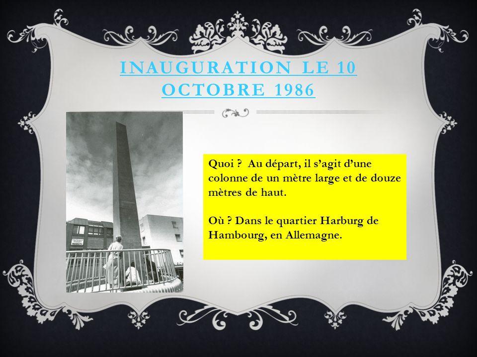INAUGURATION LE 10 OCTOBRE 1986 Quoi .
