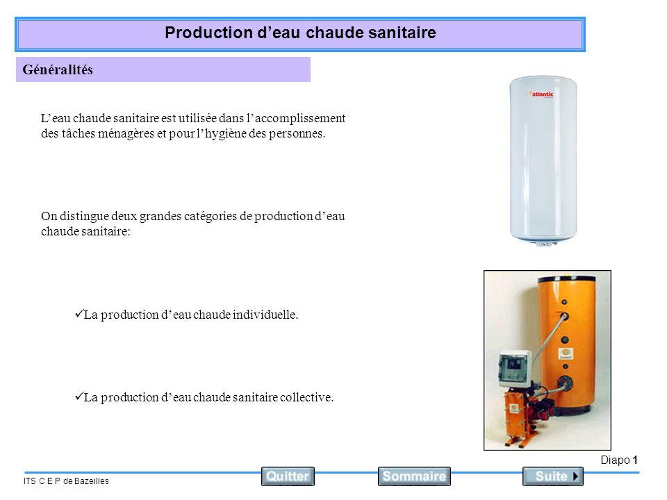 Diapo 1 ITS C E P de Bazeilles Production deau chaude sanitaire Généralités Leau chaude sanitaire est utilisée dans laccomplissement des tâches ménagè