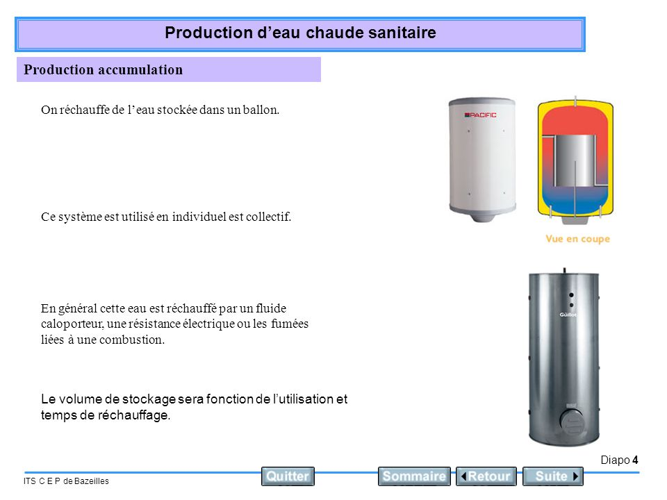 Diapo 5 ITS C E P de Bazeilles Production deau chaude sanitaire Production semi accumulation ou semi instantanée Un échangeur à plaques récupère leau froide dans la partie basse du ballon et la réinjecte chaude dans la partie haute du ballon.