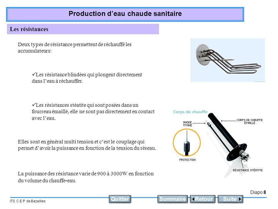 Diapo 8 ITS C E P de Bazeilles Production deau chaude sanitaire Les résistances Deux types de résistance permettent de réchauffé les accumulateurs: Le