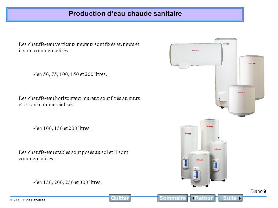 Diapo 9 ITS C E P de Bazeilles Production deau chaude sanitaire Les chauffe-eau verticaux muraux sont fixés au murs et il sont commercialisés : en 50,