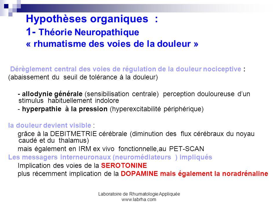 Laboratoire de Rhumatologie Appliquée www.labrha.com Hypothèses organiques : 1- Théorie Neuropathique « rhumatisme des voies de la douleur » Dérègleme