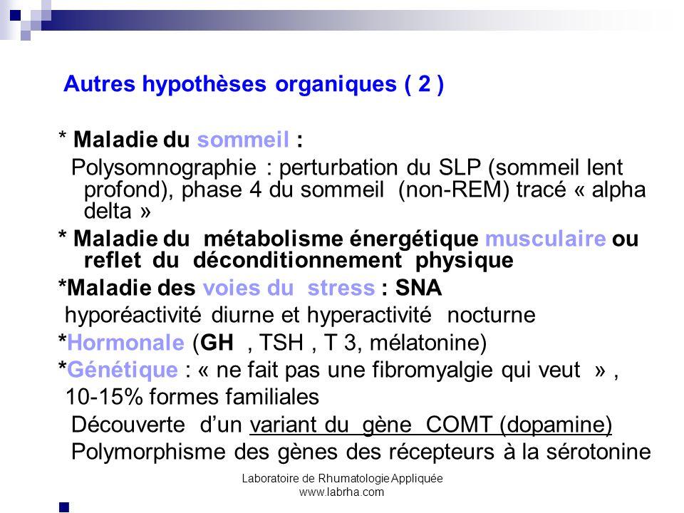 Laboratoire de Rhumatologie Appliquée www.labrha.com Autres hypothèses organiques ( 2 ) * Maladie du sommeil : Polysomnographie : perturbation du SLP