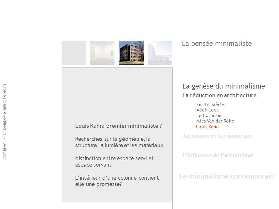 Ecole Nationale dArchitecture - Avril 2005 La réduction en architecture Fin 19 siècle Adolf Loos Le Corbusier Mies Van der Rohe Louis Kahn Japonisme e