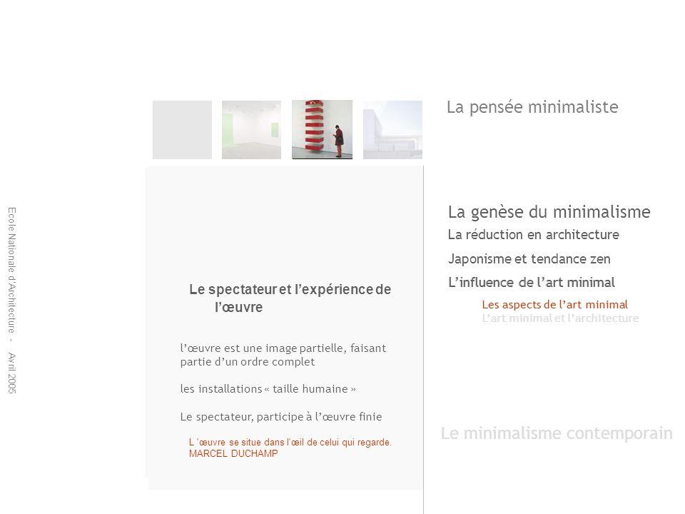 Ecole Nationale dArchitecture - Avril 2005 La réduction en architecture Japonisme et tendance zen Linfluence de lart minimal Les aspects de lart minim