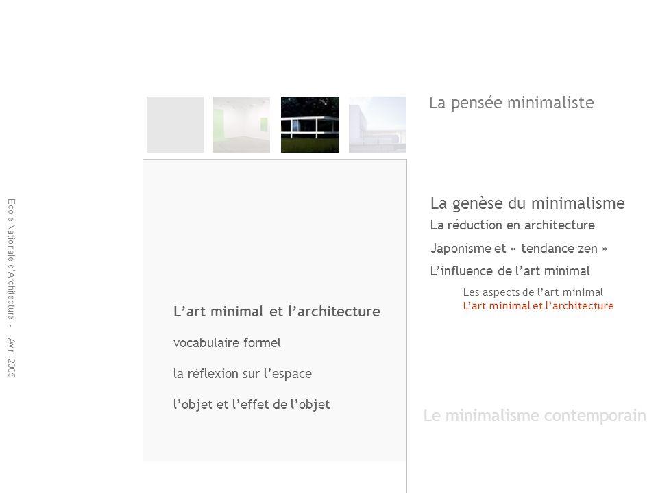 Ecole Nationale dArchitecture - Avril 2005 La réduction en architecture Japonisme et « tendance zen » Linfluence de lart minimal Les aspects de lart m