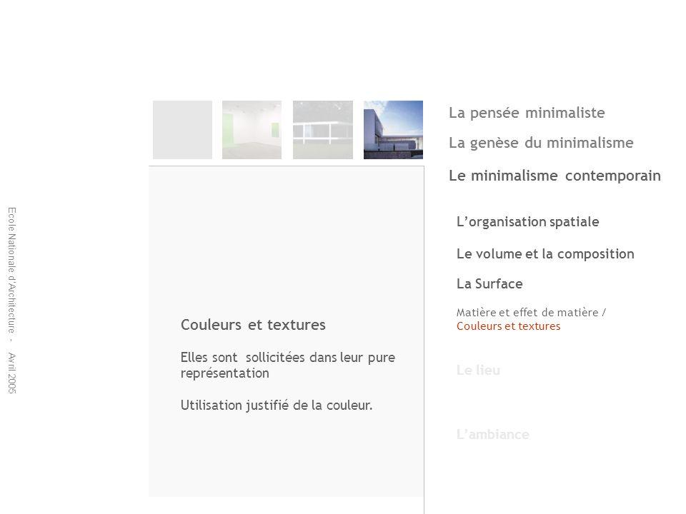 Ecole Nationale dArchitecture - Avril 2005 Lorganisation spatiale Le volume et la composition La Surface Matière et effet de matière / Couleurs et tex
