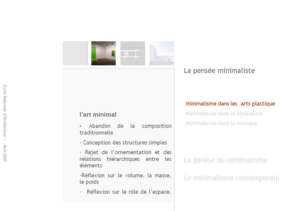 Ecole Nationale dArchitecture - Avril 2005 La genèse du minimalisme Le minimalisme contemporain Minimalisme dans les arts plastique Minimalisme dans la littérature Minimalisme dans la musique Minimalisme dans la littérature Ecrits minimalistes Lemploi des phrases courtes.