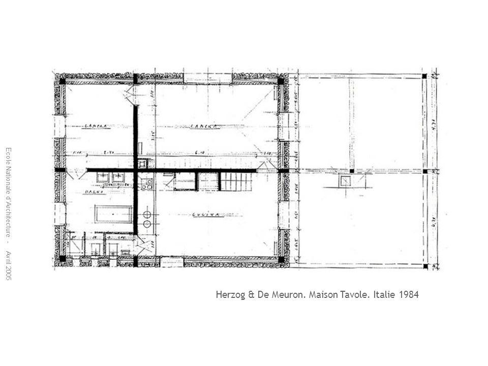 Ecole Nationale dArchitecture - Avril 2005 Herzog & De Meuron. Maison Tavole. Italie 1984