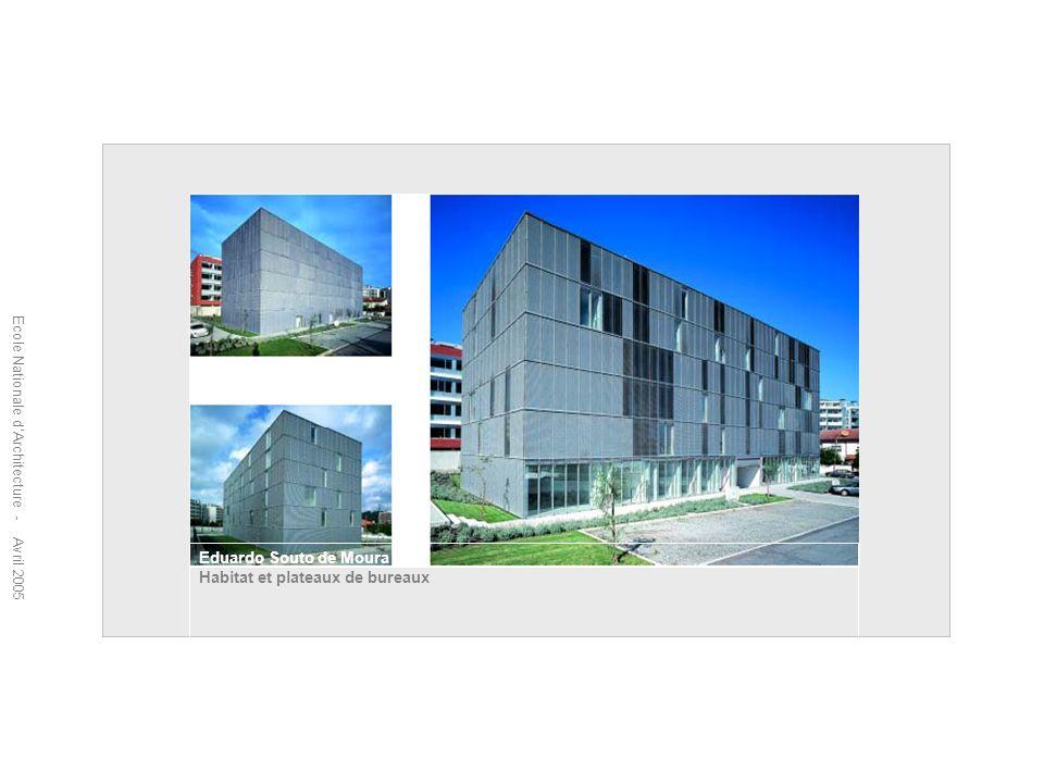 Ecole Nationale dArchitecture - Avril 2005 Eduardo Souto de Moura Habitat et plateaux de bureaux