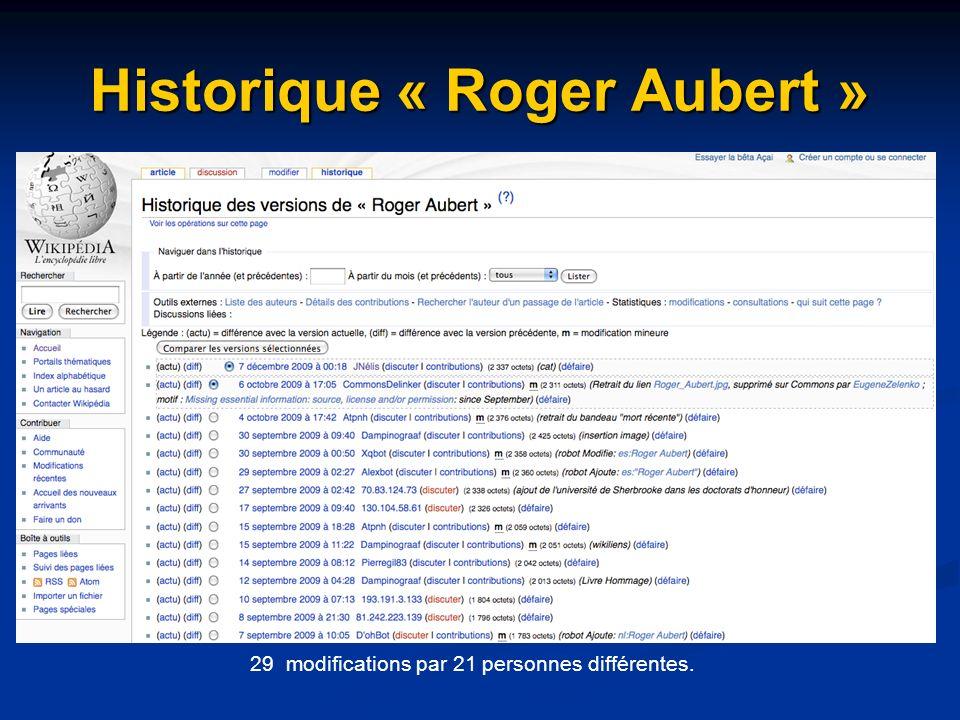 Historique « Roger Aubert » 29 modifications par 21 personnes différentes.