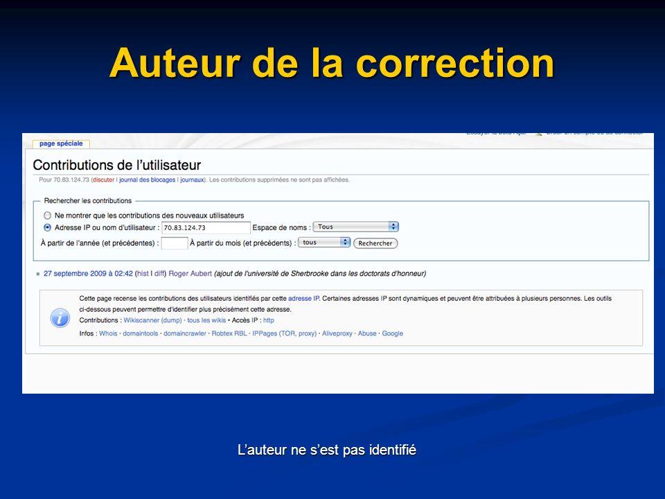 Auteur de la correction Lauteur ne sest pas identifié