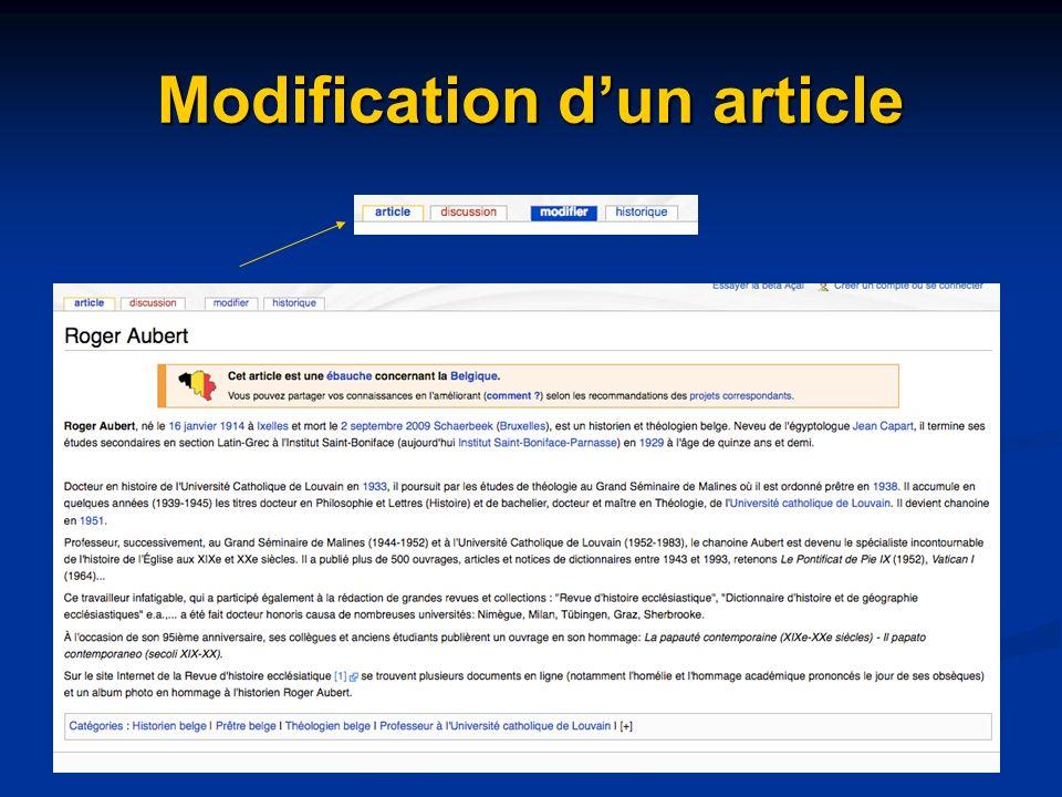 Modification dun article