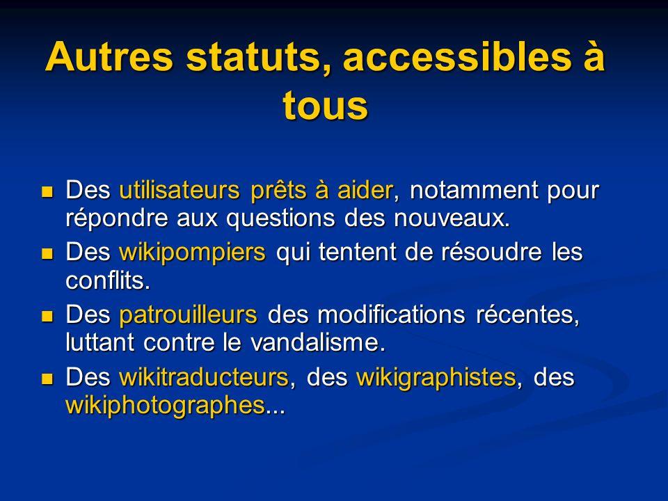 Autres statuts, accessibles à tous Des utilisateurs prêts à aider, notamment pour répondre aux questions des nouveaux.