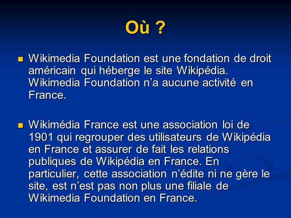 Où . Wikimedia Foundation est une fondation de droit américain qui héberge le site Wikipédia.