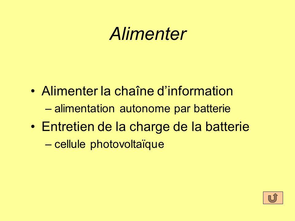 Alimenter Alimenter la chaîne dinformation –alimentation autonome par batterie Entretien de la charge de la batterie –cellule photovoltaïque