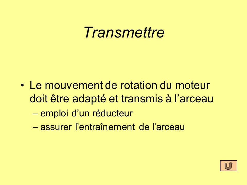 Transmettre Le mouvement de rotation du moteur doit être adapté et transmis à larceau –emploi dun réducteur –assurer lentraînement de larceau