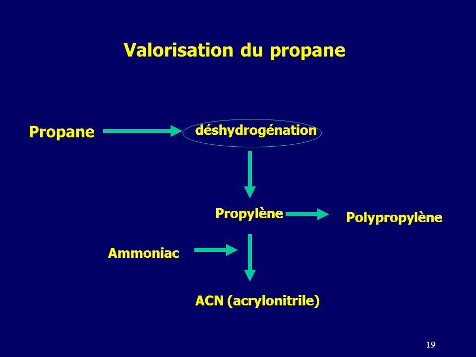 19 Propane déshydrogénation Propylène Valorisation du propane Polypropylène ACN (acrylonitrile) Ammoniac
