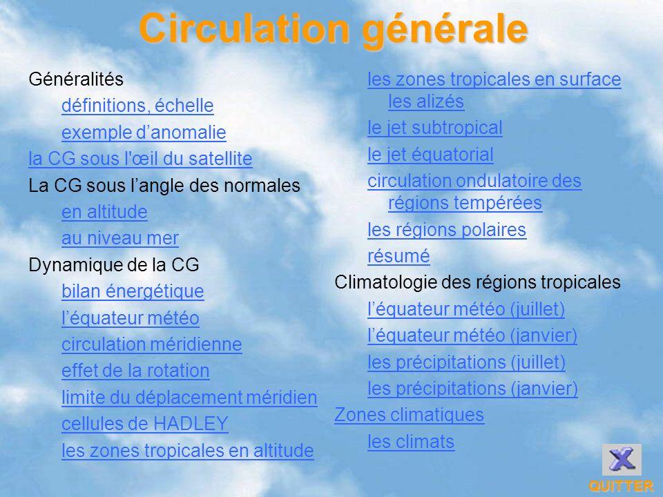 Circulation générale QUITTER Généralités définitions, échelle exemple danomalie la CG sous l'œil du satellite La CG sous langle des normales en altitu