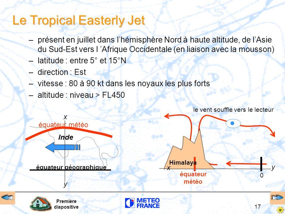 Première diapositive 17 Le Tropical Easterly Jet –présent en juillet dans lhémisphère Nord à haute altitude, de lAsie du Sud-Est vers l Afrique Occide
