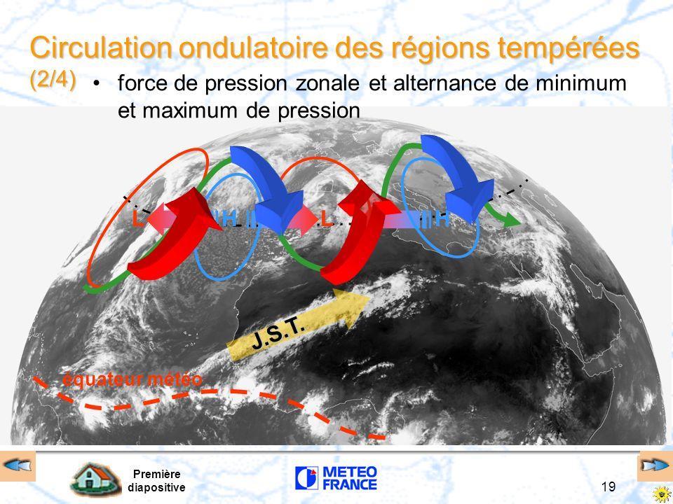 Première diapositive 19 LLHH J.S.T. Circulation ondulatoire des régions tempérées (2/4) force de pression zonale et alternance de minimum et maximum d