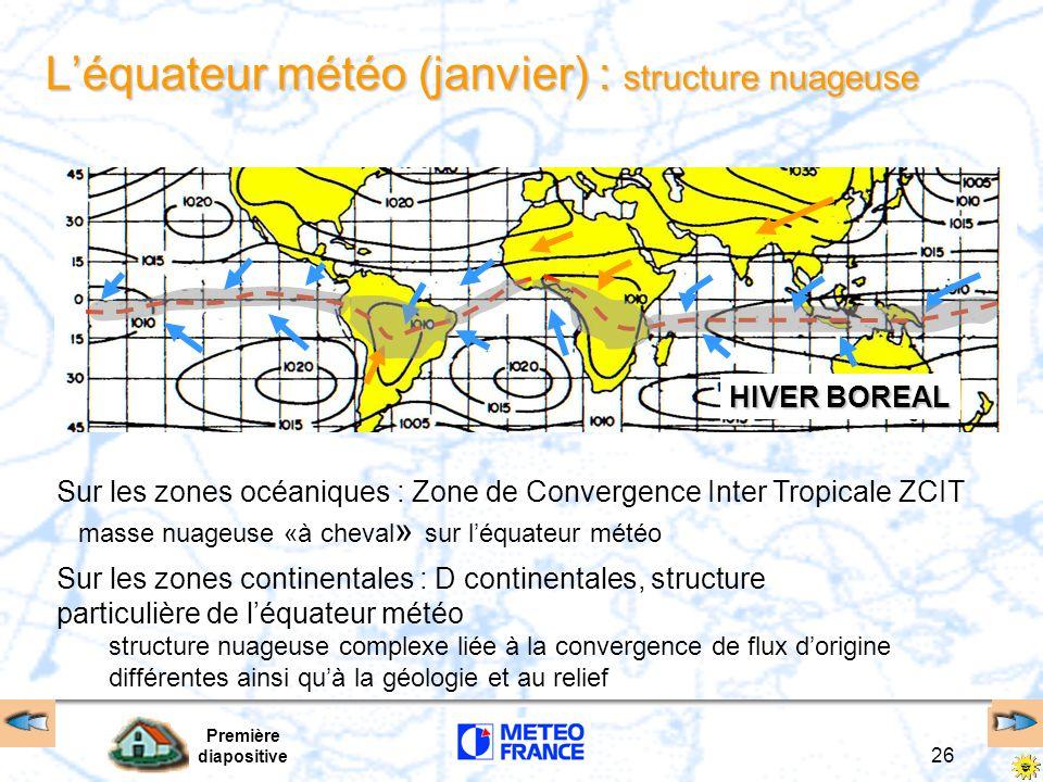 Première diapositive 26 Léquateur météo (janvier) : structure nuageuse HIVER BOREAL Sur les zones océaniques : Zone de Convergence Inter Tropicale ZCI