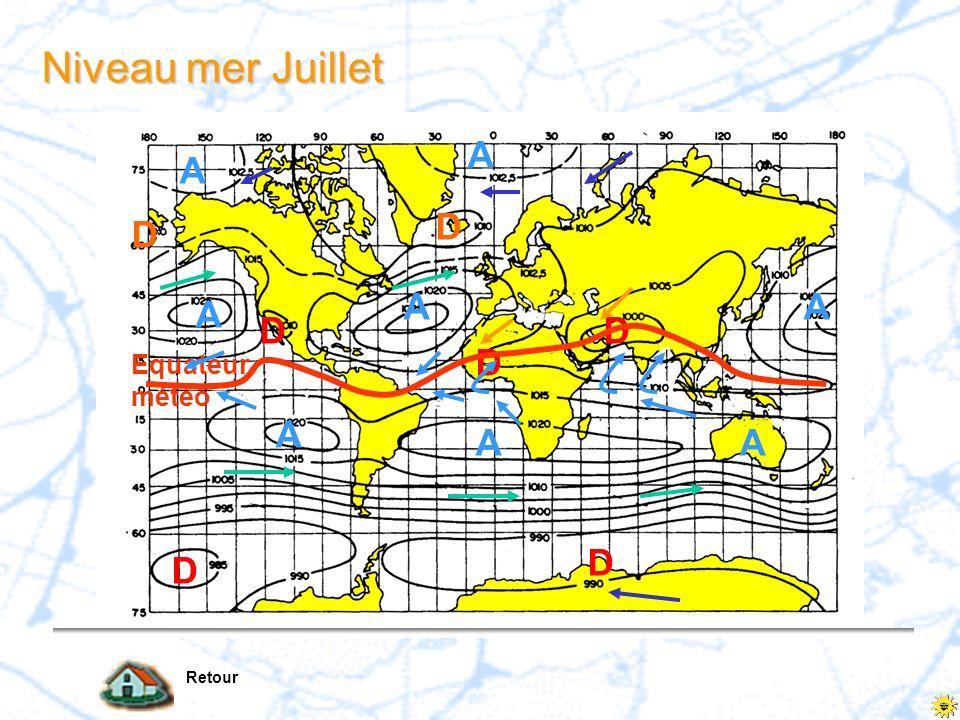Niveau mer Juillet Retour A A D D D Equateur météo D D D D A A A A AA