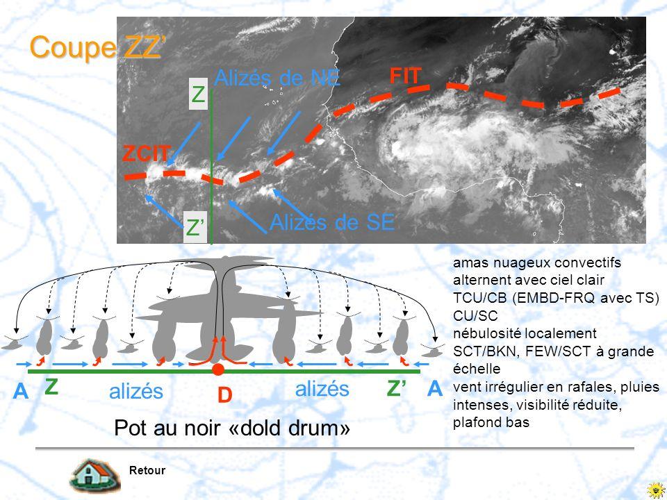Z Z FIT ZCIT Alizés de NE Alizés de SE Coupe ZZ Coupe ZZ Retour Pot au noir «dold drum» D A A Z Z alizés amas nuageux convectifs alternent avec ciel c