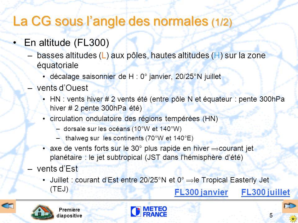Première diapositive 16 Le courant jet subtropical –planétaire, régulier, persistant –localisé du coté polaire de la cellule de Hadley, entre la tropopause tropicale et la tropopause équatoriale –très présent en hiver (<60 kt lété) –latitude : entre 20° et 40° de latitude (axe haut lhiver) –direction : Ouest –vitesse : 120 à 150 kt (hiver) –altitude : 11-12 km, FL340-FL390, pression 250-200 hpa le jet vue satellite le jet vue carte