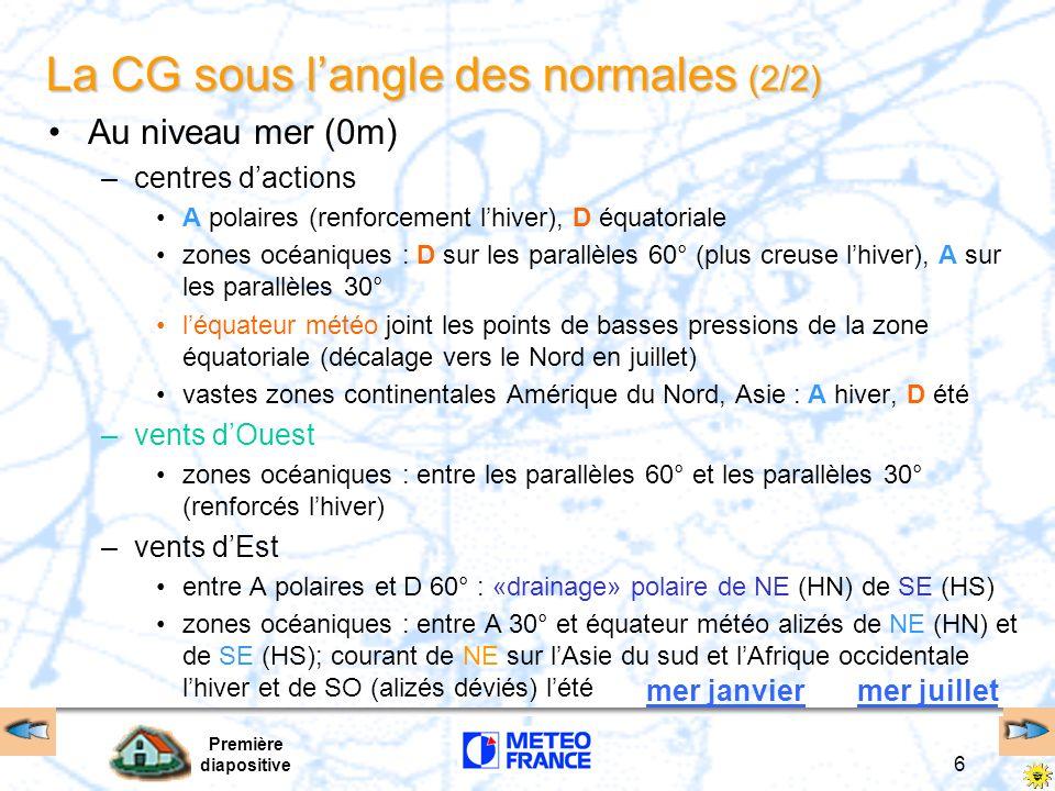 Première diapositive 6 Au niveau mer (0m) –centres dactions A polaires (renforcement lhiver), D équatoriale zones océaniques : D sur les parallèles 60
