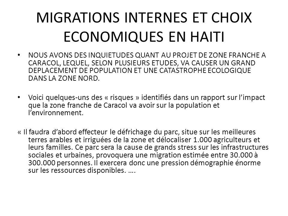 MIGRATIONS INTERNES ET CHOIX ECONOMIQUES EN HAITI NOUS AVONS DES INQUIETUDES QUANT AU PROJET DE ZONE FRANCHE A CARACOL, LEQUEL, SELON PLUSIEURS ETUDES, VA CAUSER UN GRAND DEPLACEMENT DE POPULATION ET UNE CATASTROPHE ECOLOGIQUE DANS LA ZONE NORD.