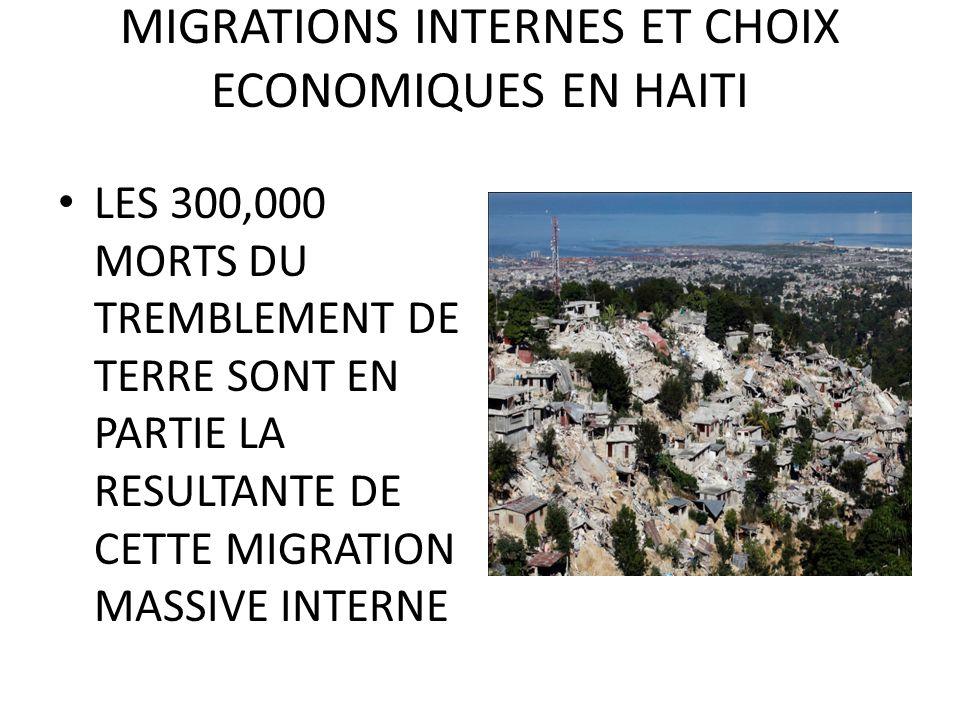 MIGRATIONS INTERNES ET CHOIX ECONOMIQUES EN HAITI LES 300,000 MORTS DU TREMBLEMENT DE TERRE SONT EN PARTIE LA RESULTANTE DE CETTE MIGRATION MASSIVE INTERNE