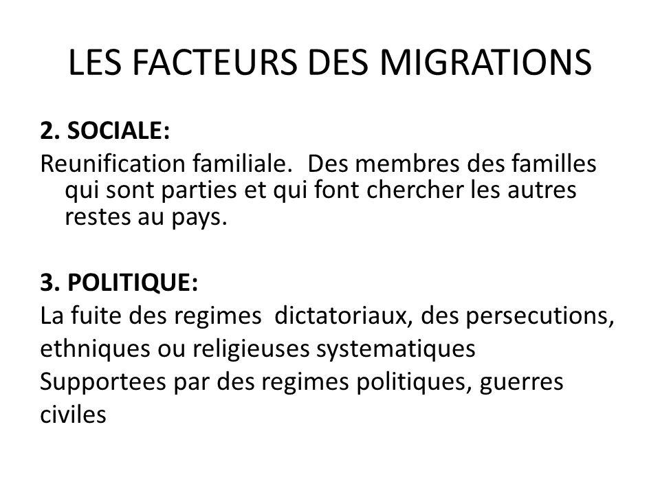 LES FACTEURS DES MIGRATIONS 2.SOCIALE: Reunification familiale.