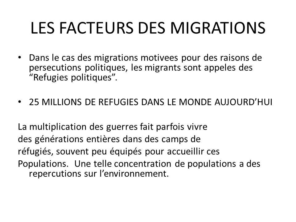 LES FACTEURS DES MIGRATIONS Dans le cas des migrations motivees pour des raisons de persecutions politiques, les migrants sont appeles des Refugies politiques.