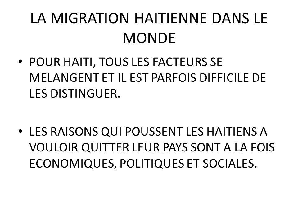LA MIGRATION HAITIENNE DANS LE MONDE POUR HAITI, TOUS LES FACTEURS SE MELANGENT ET IL EST PARFOIS DIFFICILE DE LES DISTINGUER.