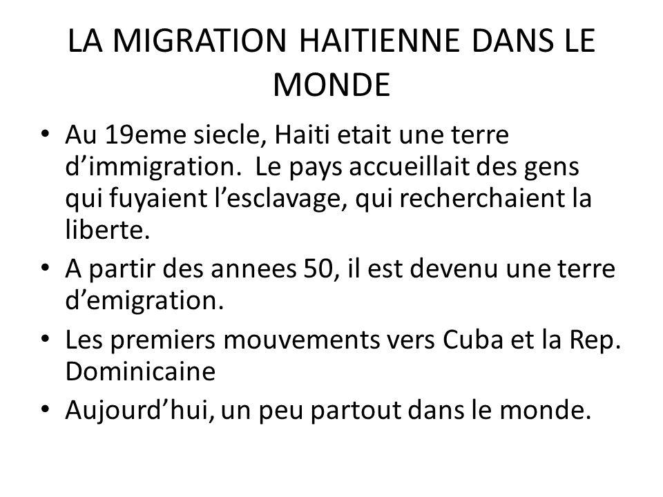 LA MIGRATION HAITIENNE DANS LE MONDE Au 19eme siecle, Haiti etait une terre dimmigration.