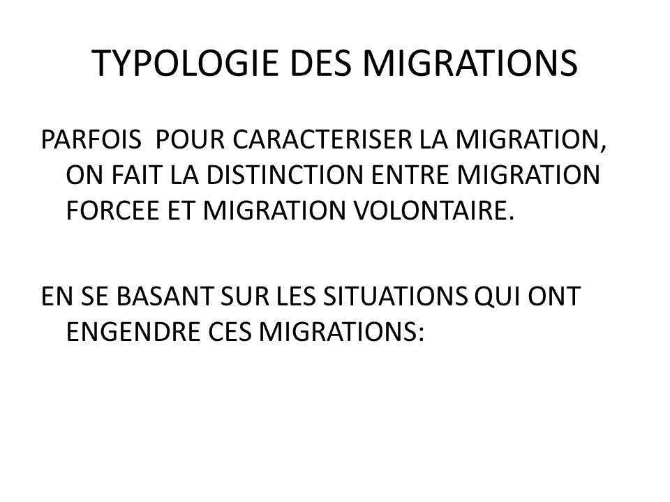 TYPOLOGIE DES MIGRATIONS PARFOIS POUR CARACTERISER LA MIGRATION, ON FAIT LA DISTINCTION ENTRE MIGRATION FORCEE ET MIGRATION VOLONTAIRE.