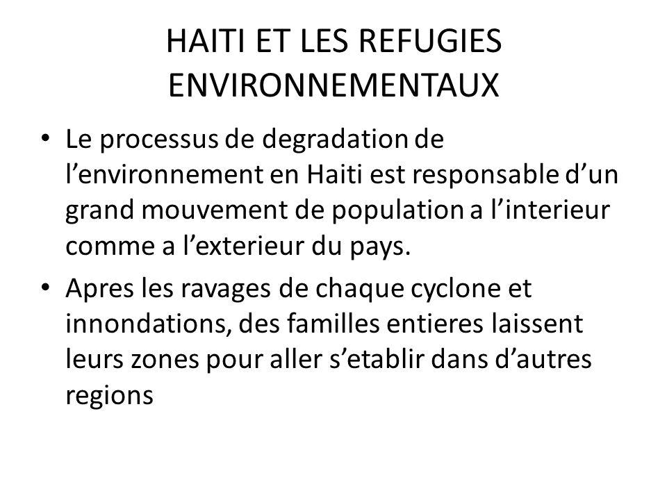 HAITI ET LES REFUGIES ENVIRONNEMENTAUX Le processus de degradation de lenvironnement en Haiti est responsable dun grand mouvement de population a linterieur comme a lexterieur du pays.