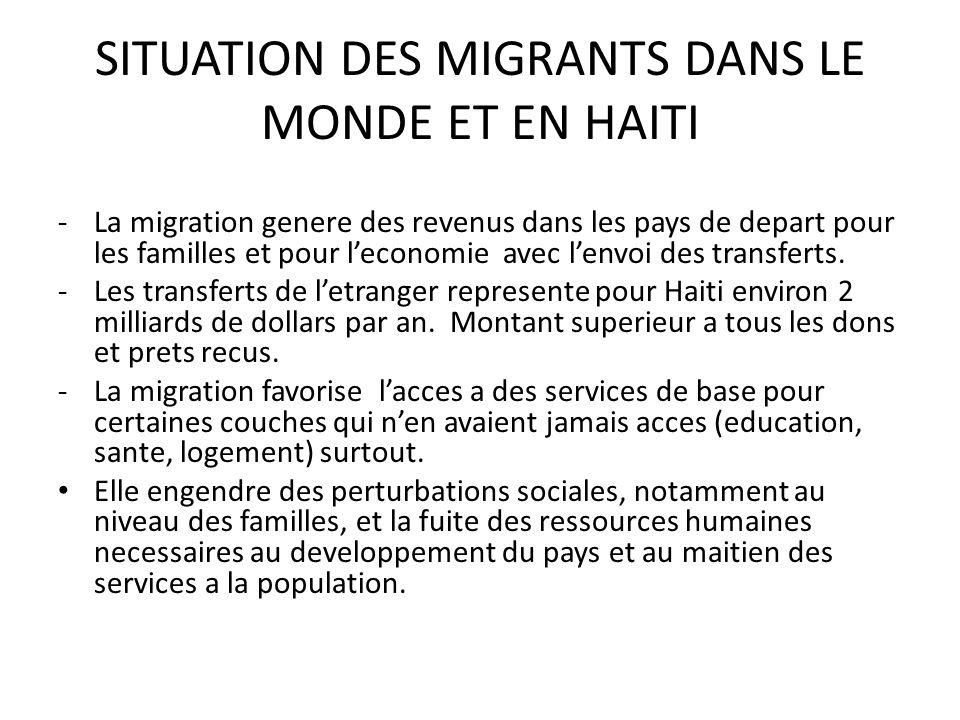 SITUATION DES MIGRANTS DANS LE MONDE ET EN HAITI -La migration genere des revenus dans les pays de depart pour les familles et pour leconomie avec lenvoi des transferts.