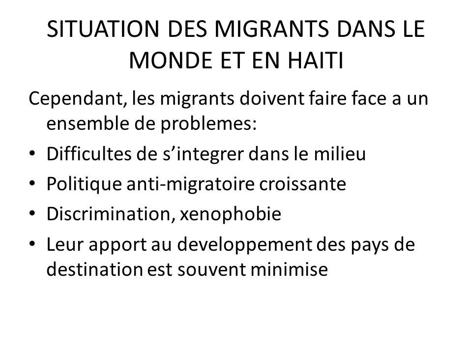 SITUATION DES MIGRANTS DANS LE MONDE ET EN HAITI Cependant, les migrants doivent faire face a un ensemble de problemes: Difficultes de sintegrer dans le milieu Politique anti-migratoire croissante Discrimination, xenophobie Leur apport au developpement des pays de destination est souvent minimise