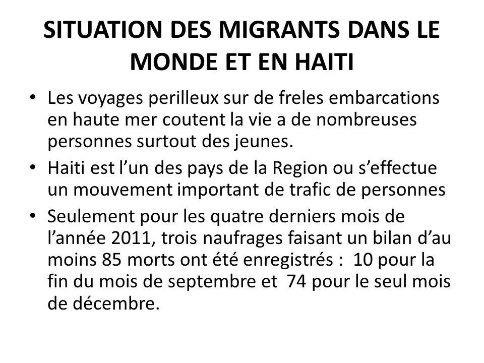 SITUATION DES MIGRANTS DANS LE MONDE ET EN HAITI Les voyages perilleux sur de freles embarcations en haute mer coutent la vie a de nombreuses personnes surtout des jeunes.