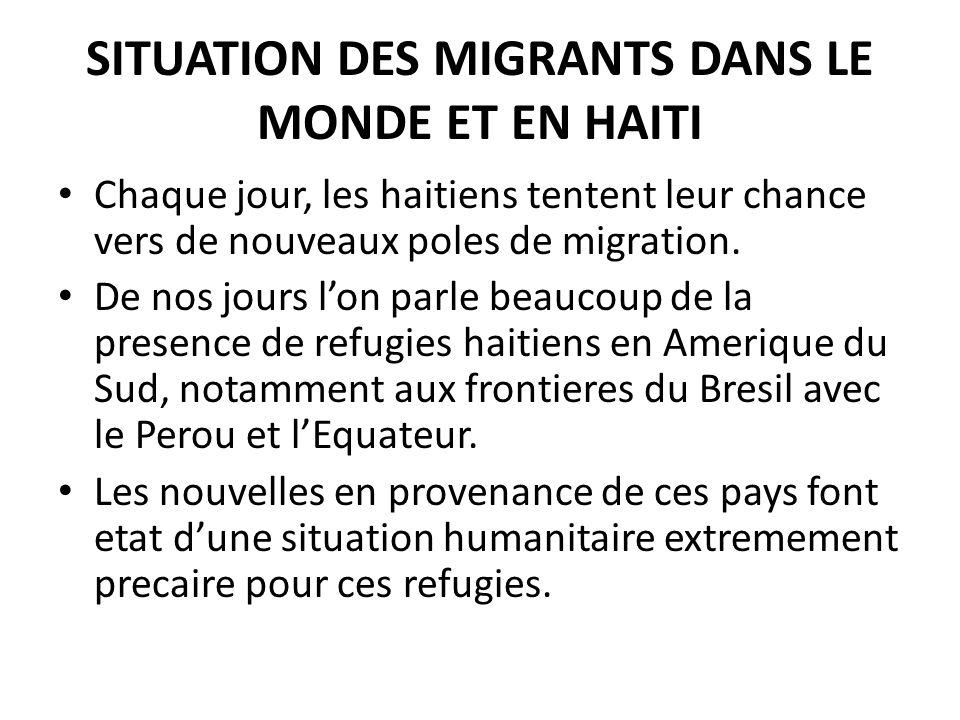 SITUATION DES MIGRANTS DANS LE MONDE ET EN HAITI Chaque jour, les haitiens tentent leur chance vers de nouveaux poles de migration.