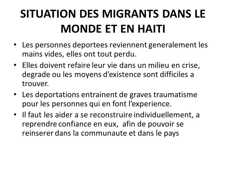 SITUATION DES MIGRANTS DANS LE MONDE ET EN HAITI Les personnes deportees reviennent generalement les mains vides, elles ont tout perdu.