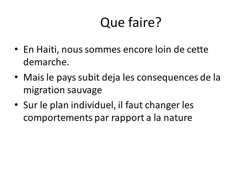 Que faire.En Haiti, nous sommes encore loin de cette demarche.