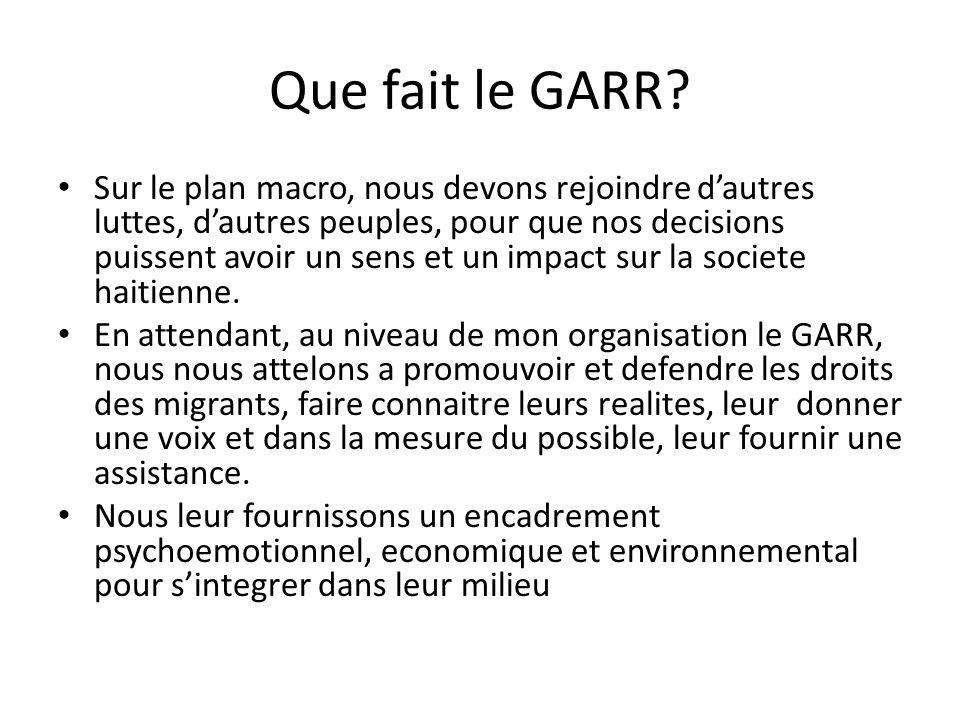 Que fait le GARR.