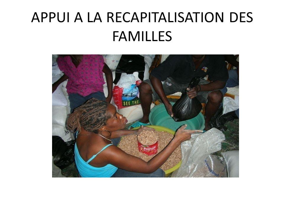APPUI A LA RECAPITALISATION DES FAMILLES
