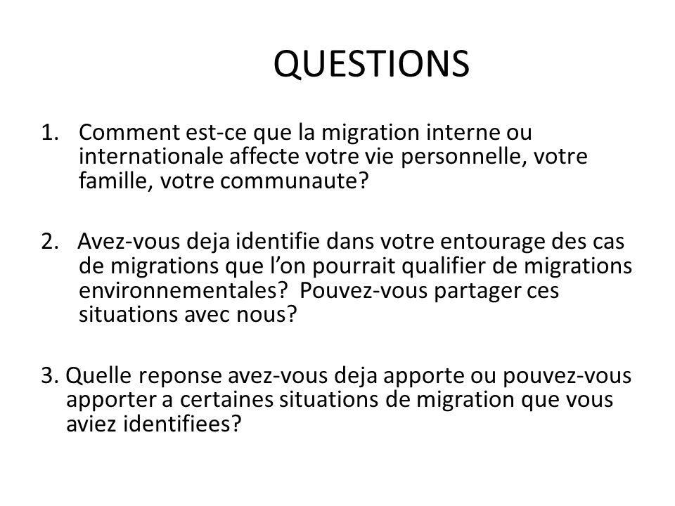 QUESTIONS 1.Comment est-ce que la migration interne ou internationale affecte votre vie personnelle, votre famille, votre communaute.