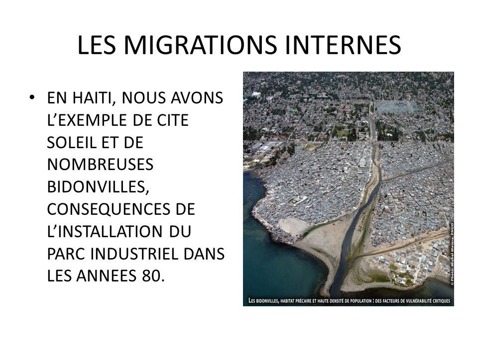 LES MIGRATIONS INTERNES EN HAITI, NOUS AVONS LEXEMPLE DE CITE SOLEIL ET DE NOMBREUSES BIDONVILLES, CONSEQUENCES DE LINSTALLATION DU PARC INDUSTRIEL DANS LES ANNEES 80.
