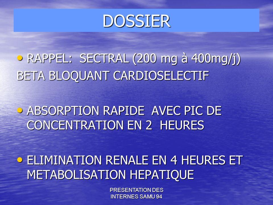 PRESENTATION DES INTERNES SAMU 94 RAPPEL: SECTRAL (200 mg à 400mg/j) RAPPEL: SECTRAL (200 mg à 400mg/j) BETA BLOQUANT CARDIOSELECTIF ABSORPTION RAPIDE AVEC PIC DE CONCENTRATION EN 2 HEURES ABSORPTION RAPIDE AVEC PIC DE CONCENTRATION EN 2 HEURES ELIMINATION RENALE EN 4 HEURES ET METABOLISATION HEPATIQUE ELIMINATION RENALE EN 4 HEURES ET METABOLISATION HEPATIQUE DOSSIER